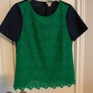 J. Crew Green & Navy Lace Top